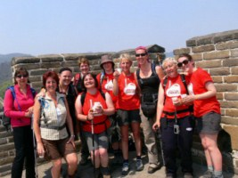trekkers on Great wall of china image